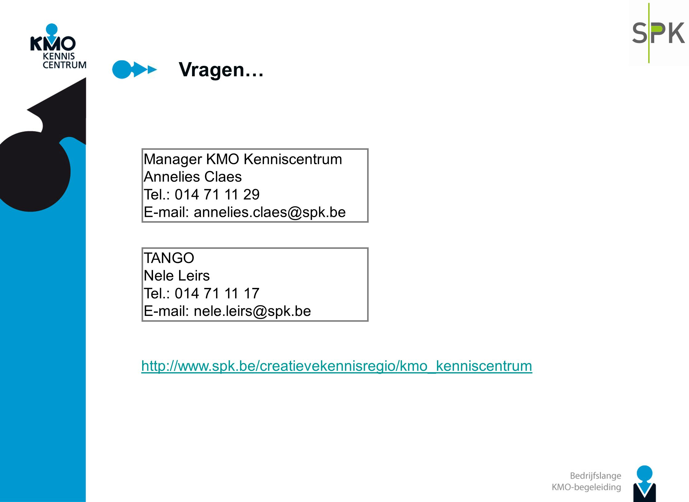 Vragen… Manager KMO Kenniscentrum Annelies Claes Tel.: 014 71 11 29