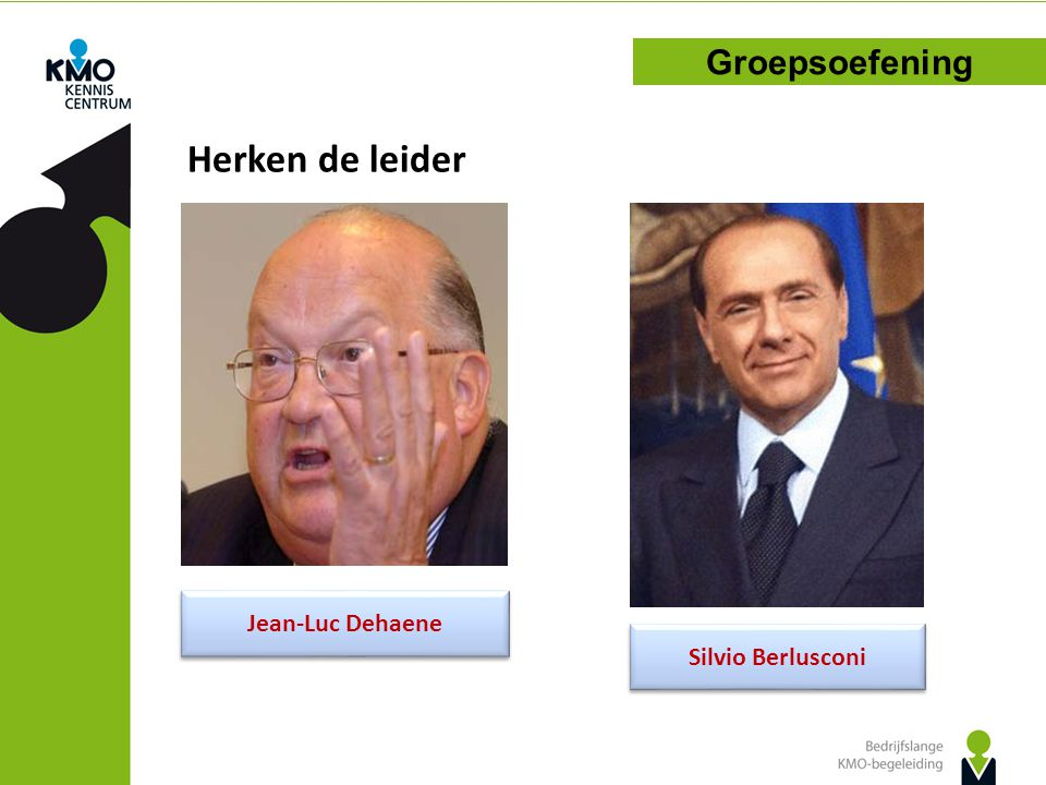 Herken de leider Groepsoefening Jean-Luc Dehaene Silvio Berlusconi