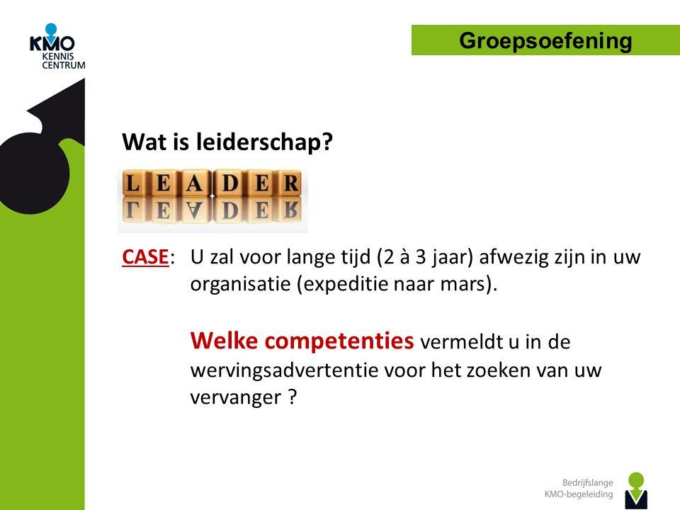 Groepsoefening Wat is leiderschap CASE: U zal voor lange tijd (2 à 3 jaar) afwezig zijn in uw organisatie (expeditie naar mars).