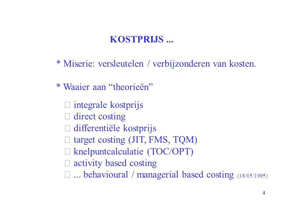 KOSTPRIJS ... * Miserie: versleutelen / verbijzonderen van kosten. * Waaier aan theorieën integrale kostprijs.