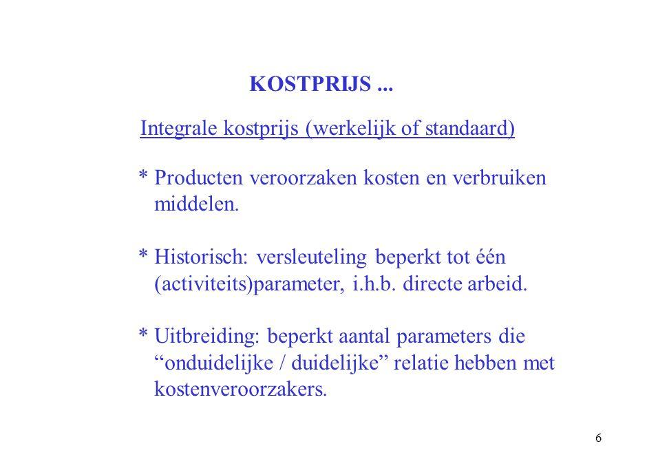 KOSTPRIJS ... Integrale kostprijs (werkelijk of standaard) * Producten veroorzaken kosten en verbruiken.