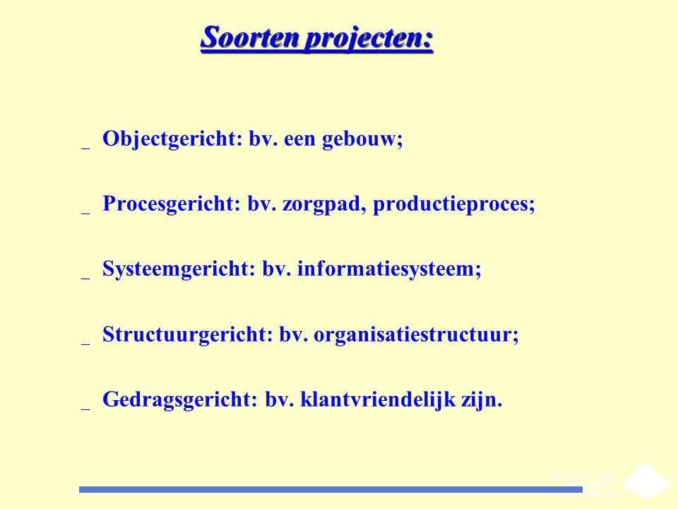 Soorten projecten: Objectgericht: bv. een gebouw;