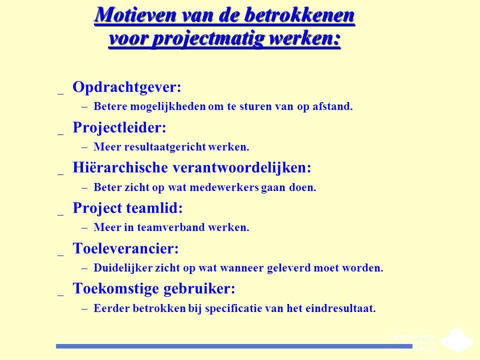 Motieven van de betrokkenen voor projectmatig werken: