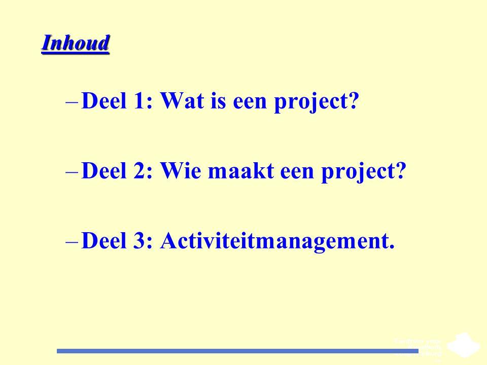 Deel 1: Wat is een project Deel 2: Wie maakt een project