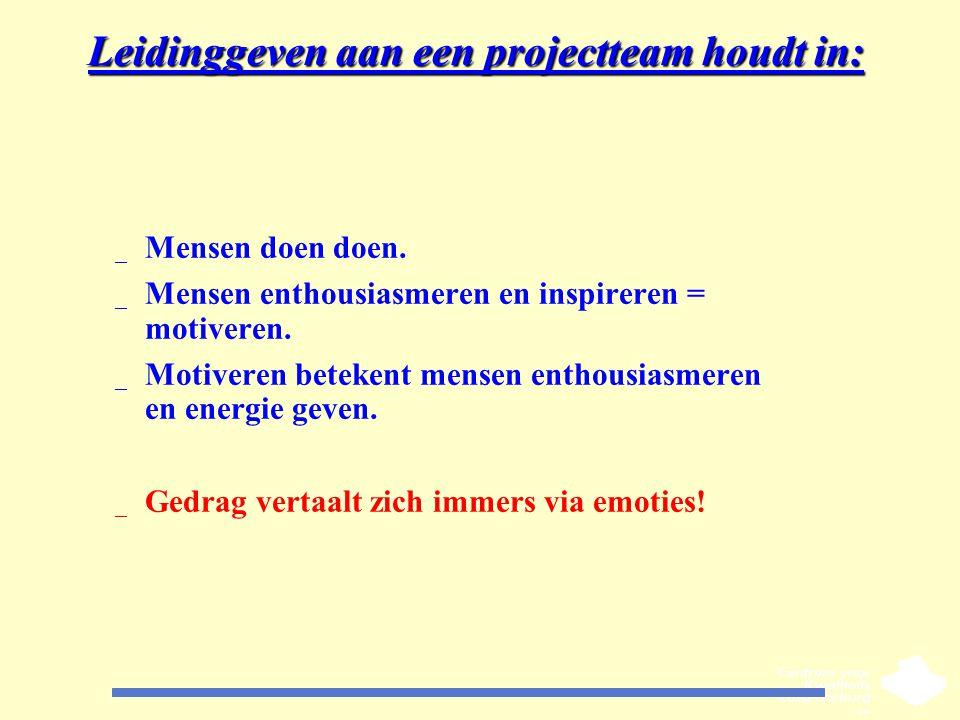 Leidinggeven aan een projectteam houdt in: