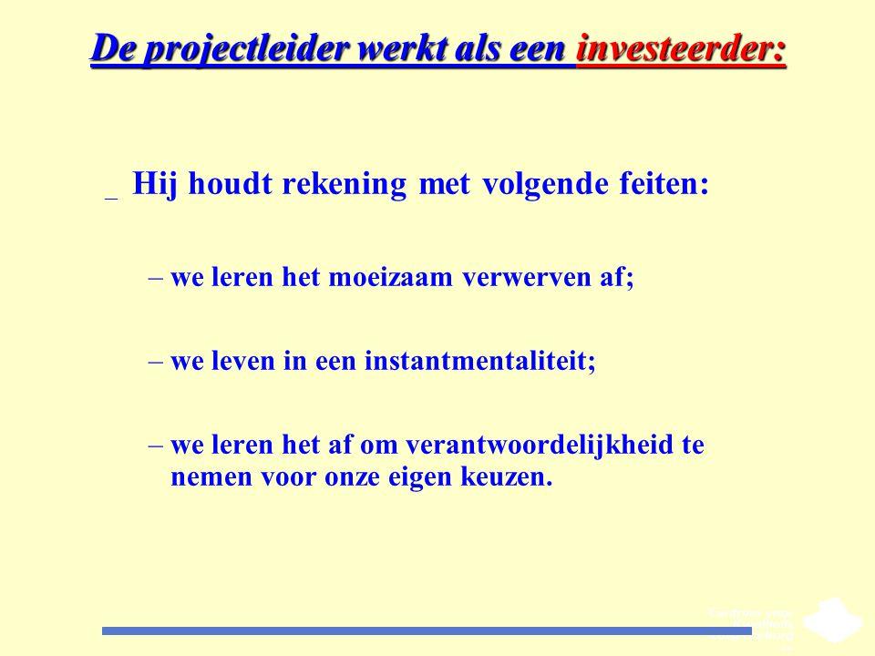 De projectleider werkt als een investeerder: