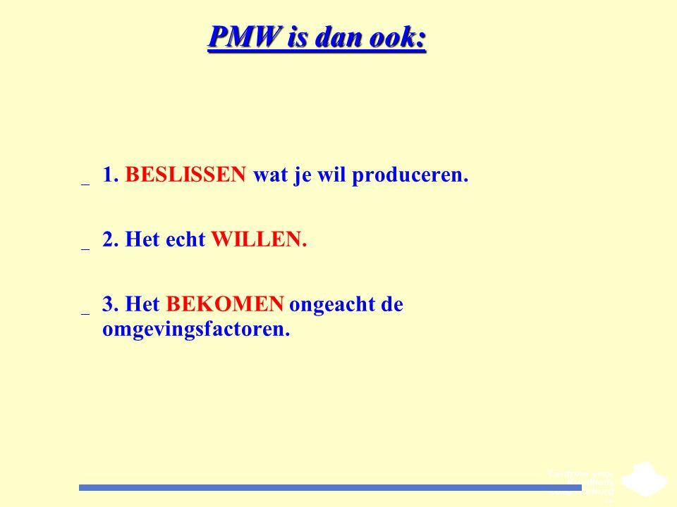 PMW is dan ook: 1. BESLISSEN wat je wil produceren.
