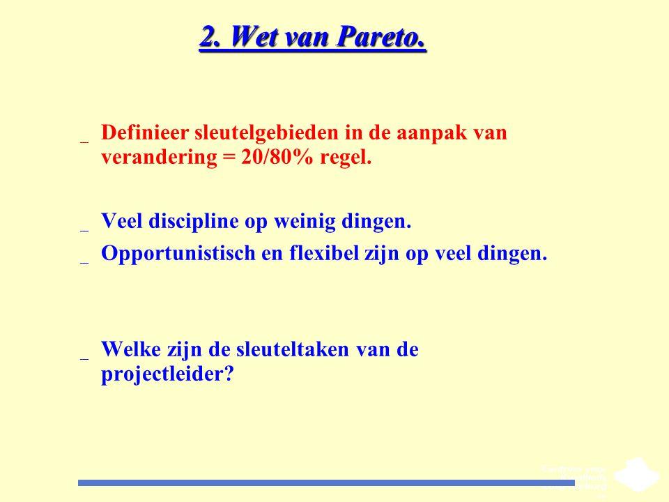 2. Wet van Pareto. Definieer sleutelgebieden in de aanpak van verandering = 20/80% regel. Veel discipline op weinig dingen.