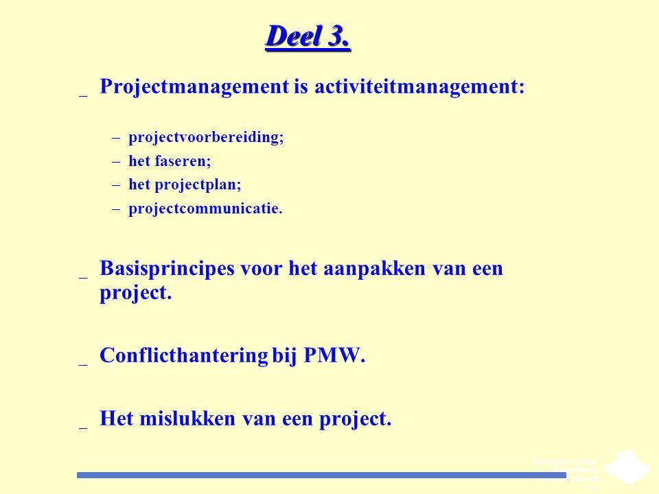 Deel 3. Projectmanagement is activiteitmanagement: