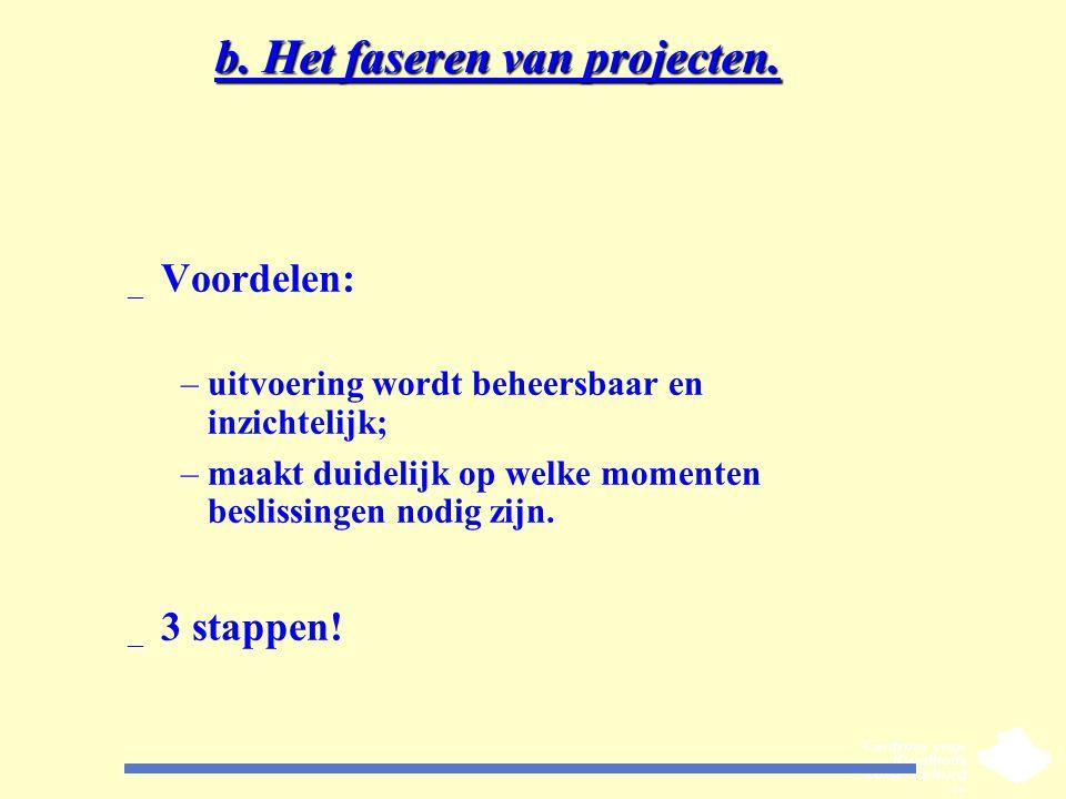 b. Het faseren van projecten.