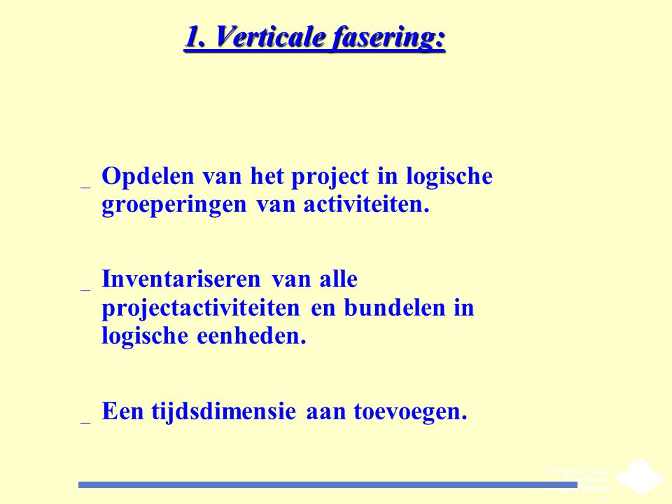 1. Verticale fasering: Opdelen van het project in logische groeperingen van activiteiten.