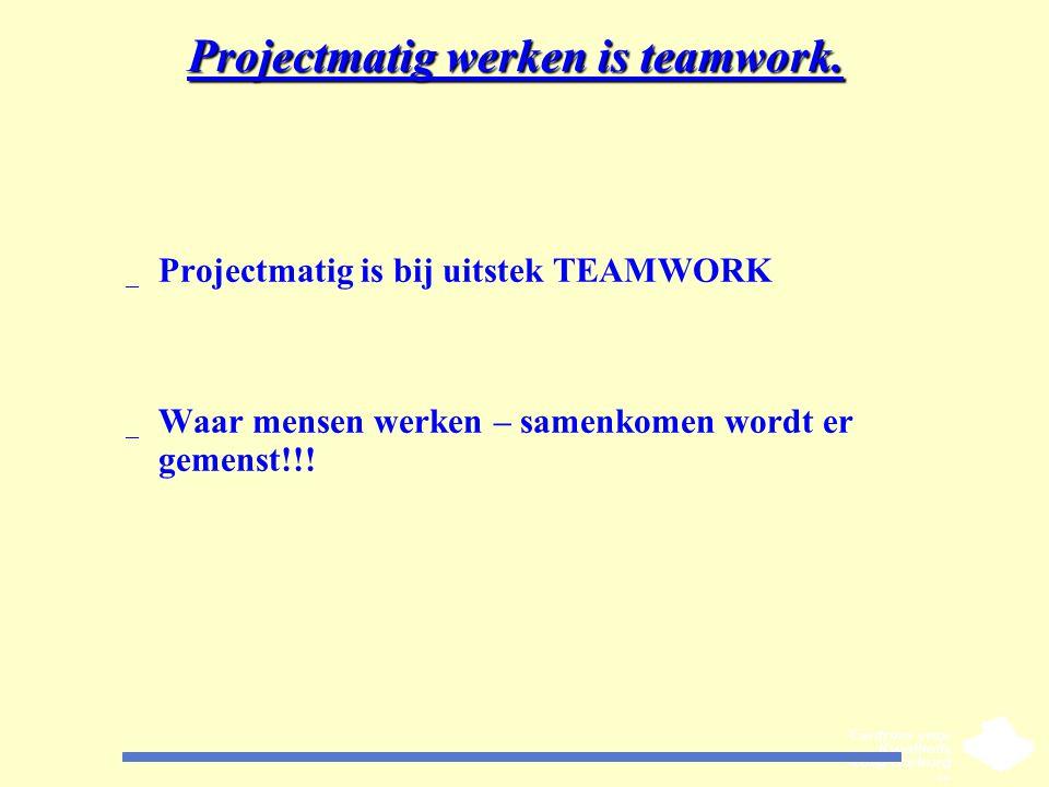 Projectmatig werken is teamwork.
