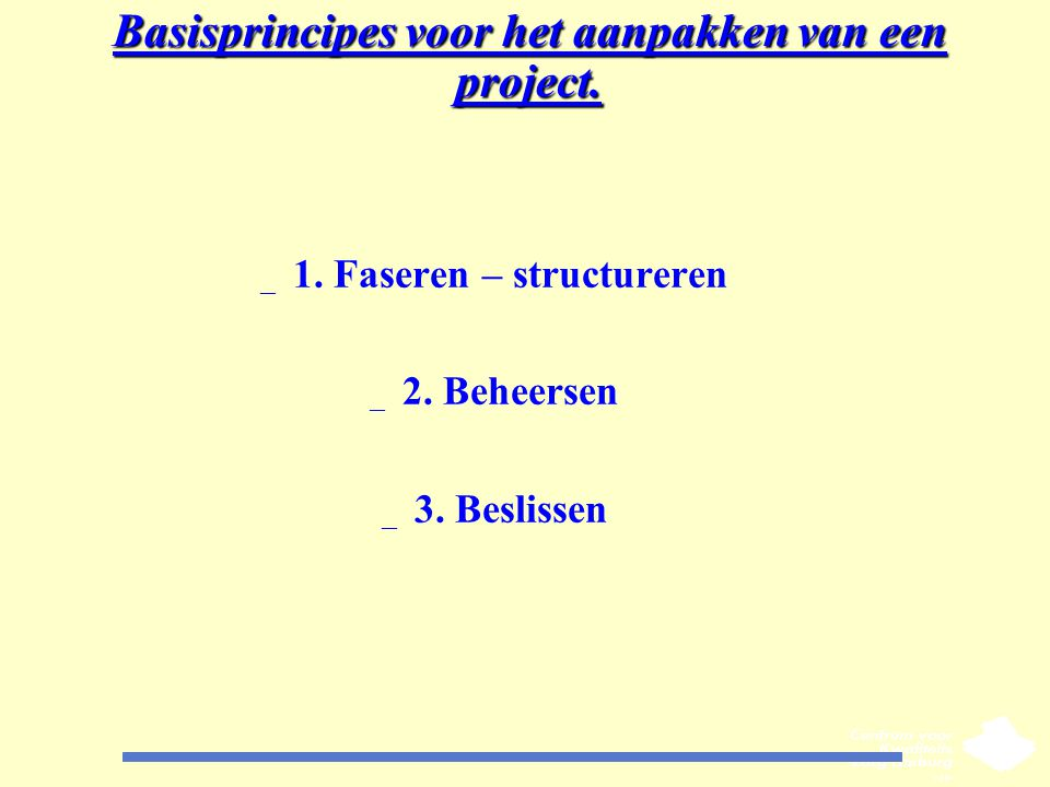 Basisprincipes voor het aanpakken van een project.
