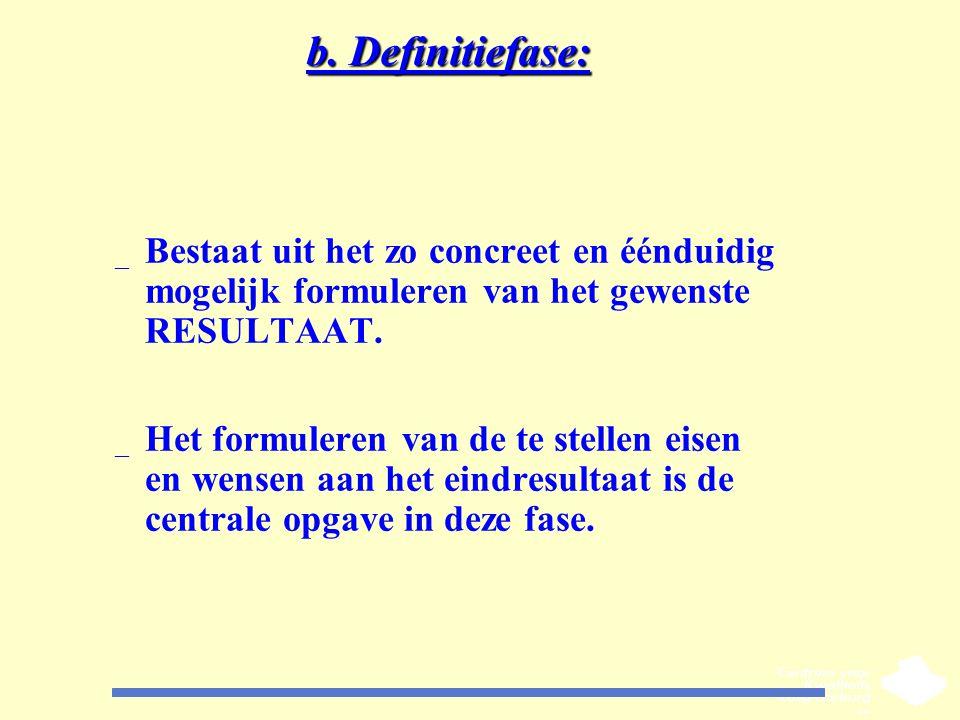 b. Definitiefase: Bestaat uit het zo concreet en éénduidig mogelijk formuleren van het gewenste RESULTAAT.