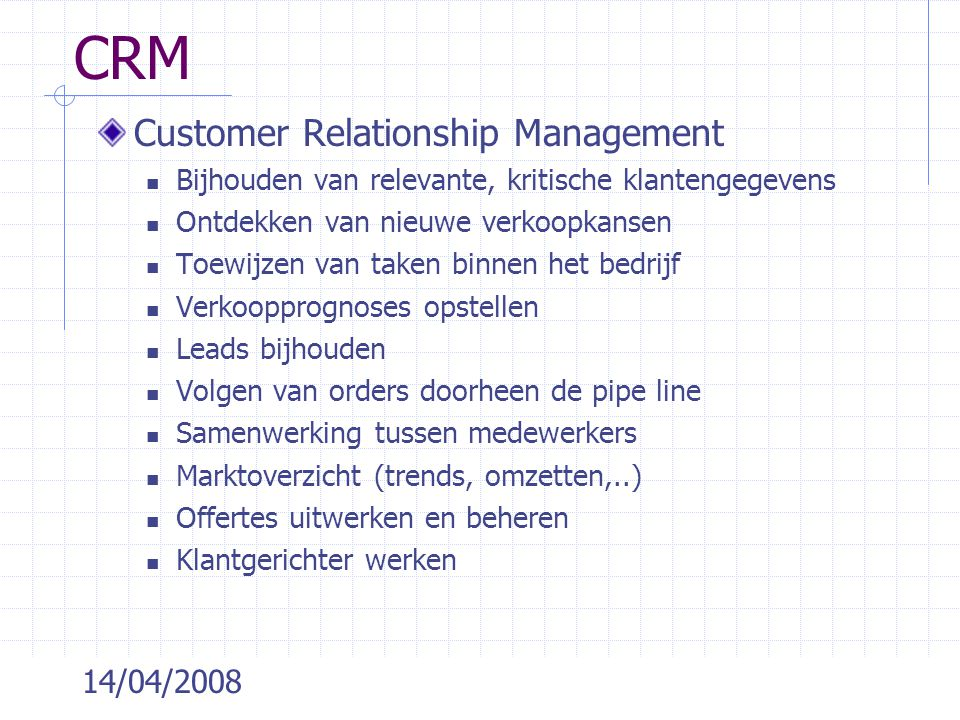 CRM Customer Relationship Management 14/04/2008