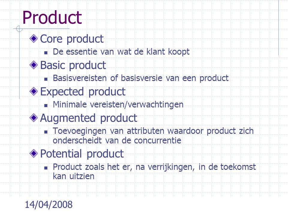 Product Core product Basic product Expected product Augmented product