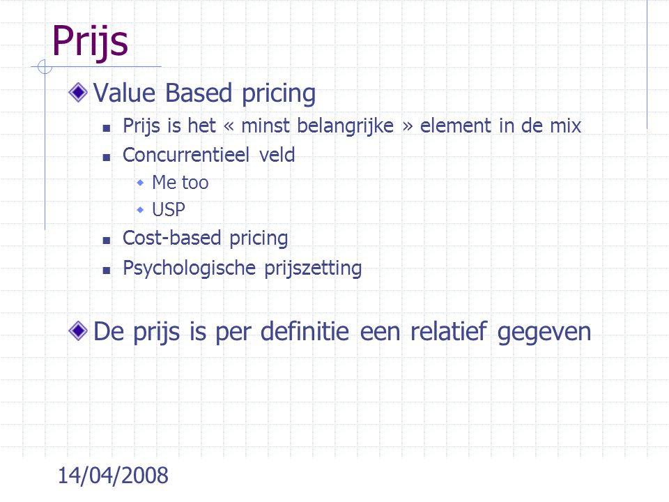 Prijs Value Based pricing