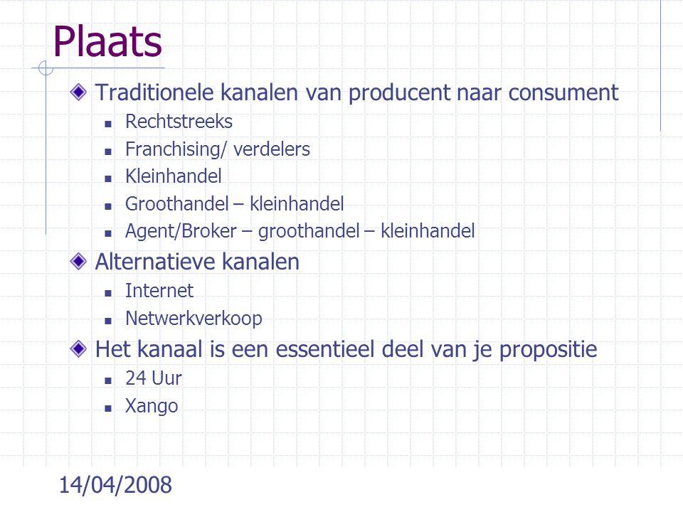 Plaats Traditionele kanalen van producent naar consument