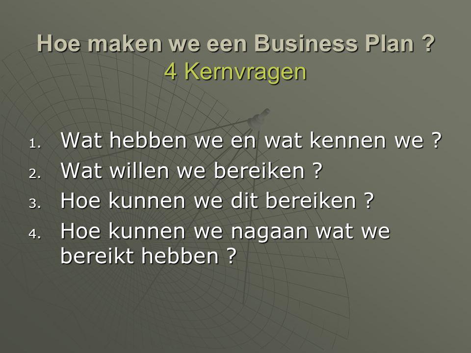Hoe maken we een Business Plan 4 Kernvragen