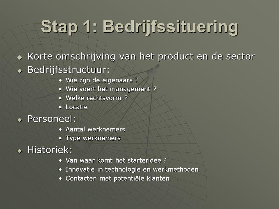 Stap 1: Bedrijfssituering