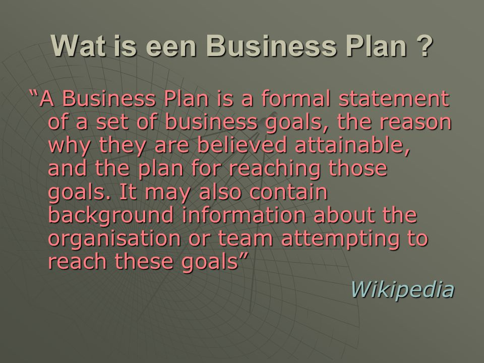 Wat is een Business Plan