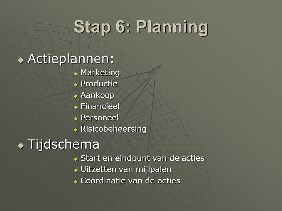 Stap 6: Planning Actieplannen: Tijdschema Marketing Productie Aankoop