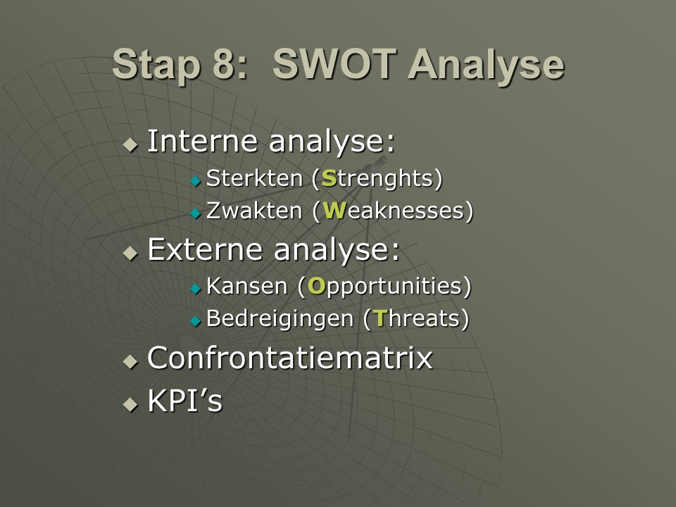 Stap 8: SWOT Analyse Interne analyse: Externe analyse: