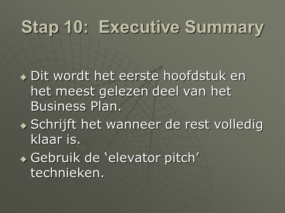 Stap 10: Executive Summary