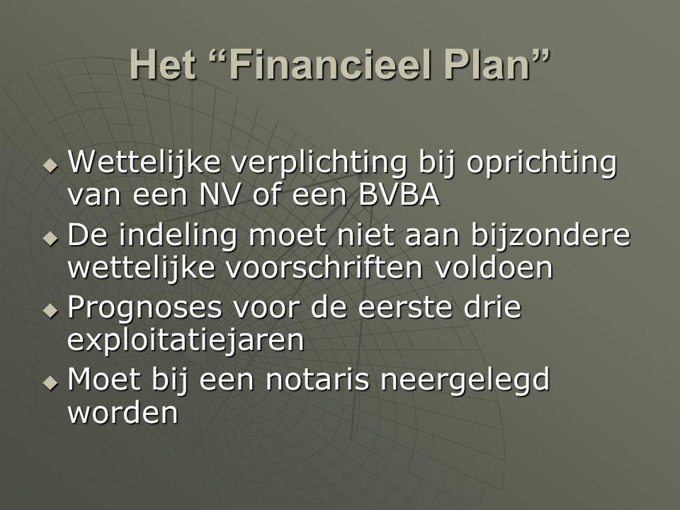 Het Financieel Plan Wettelijke verplichting bij oprichting van een NV of een BVBA.