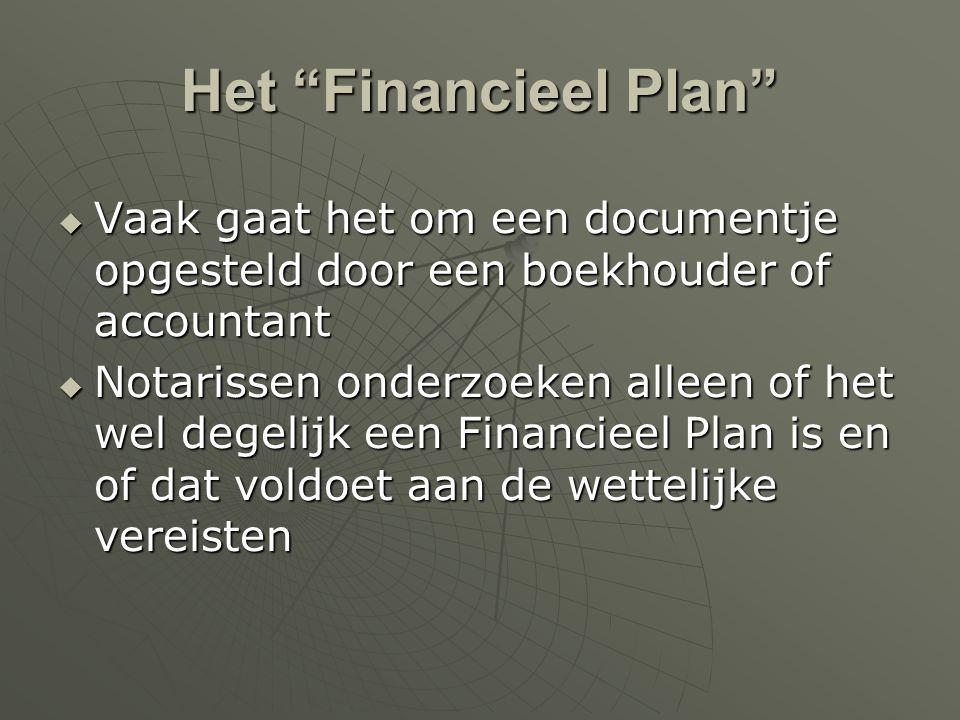 Het Financieel Plan Vaak gaat het om een documentje opgesteld door een boekhouder of accountant.