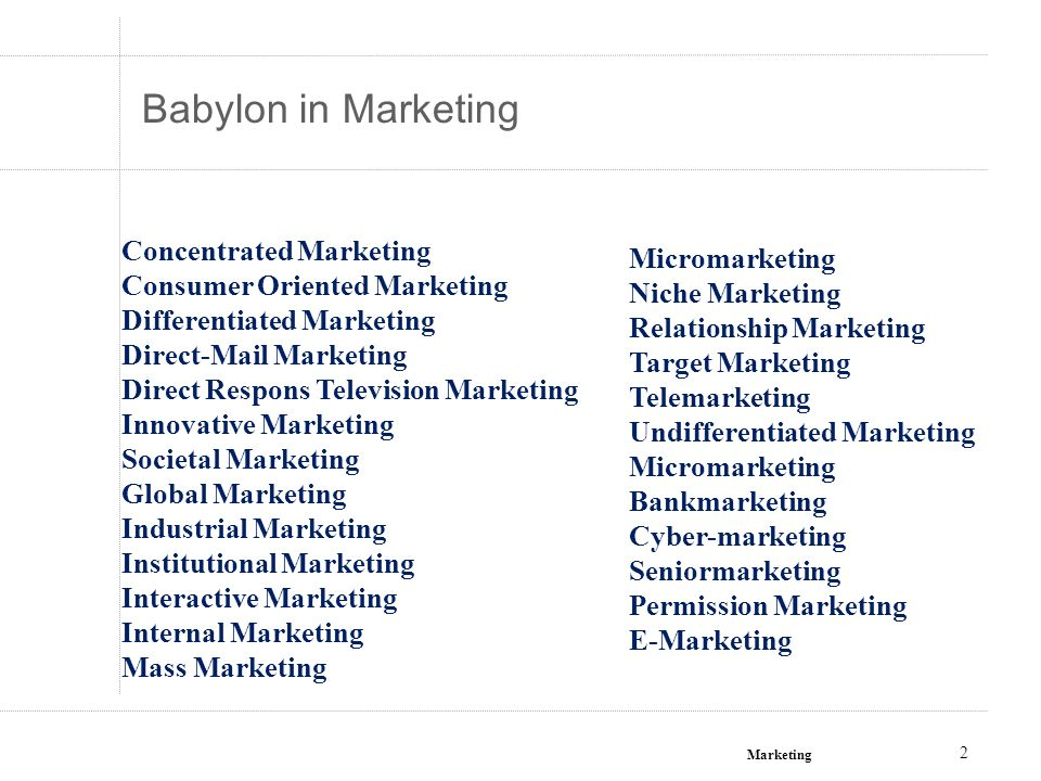 Babylon in Marketing Concentrated Marketing Micromarketing