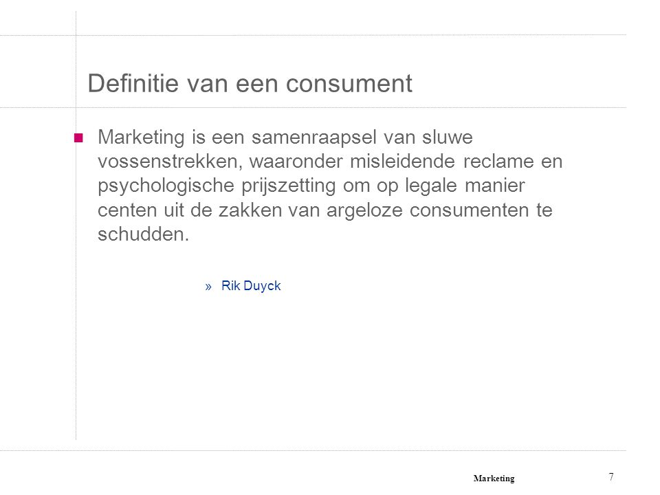 Definitie van een consument