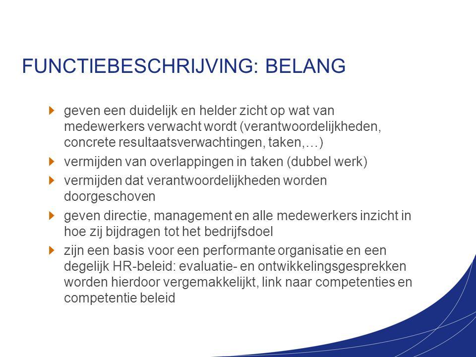 FUNCTIEBESCHRIJVING: BELANG
