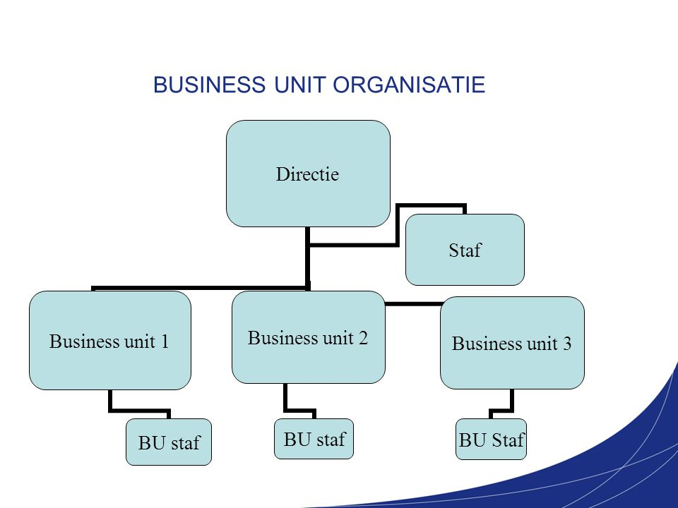 BUSINESS UNIT ORGANISATIE