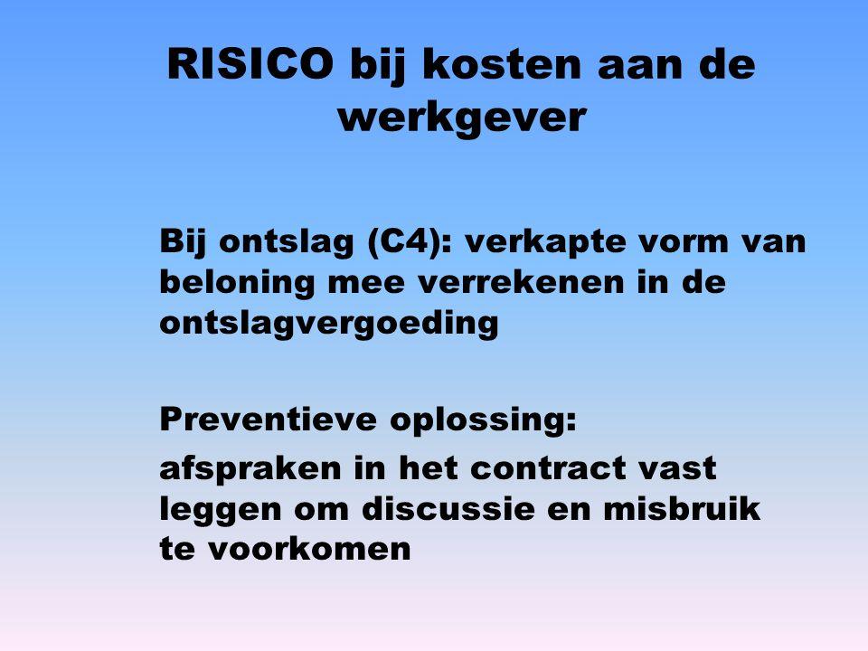 RISICO bij kosten aan de werkgever
