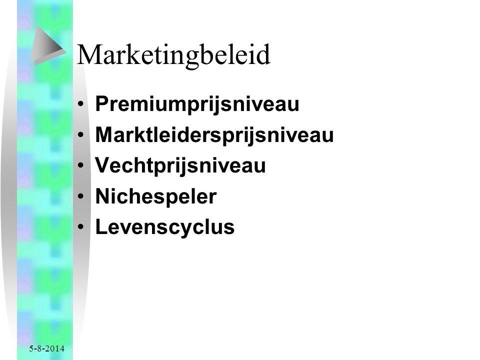 Marketingbeleid Premiumprijsniveau Marktleidersprijsniveau