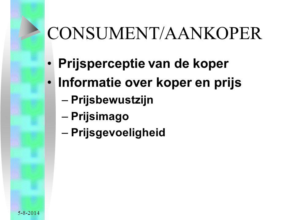 CONSUMENT/AANKOPER Prijsperceptie van de koper