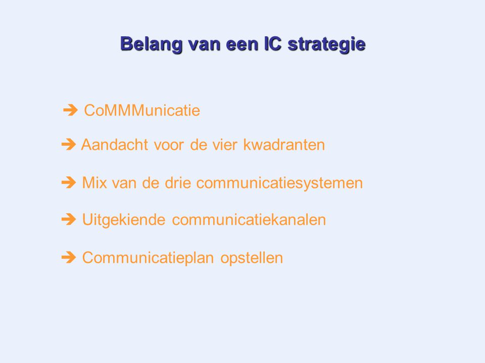 Belang van een IC strategie