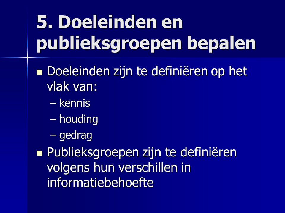 5. Doeleinden en publieksgroepen bepalen