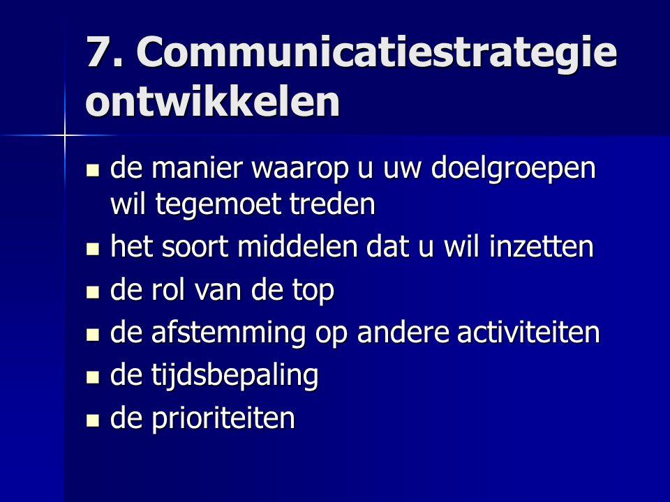 7. Communicatiestrategie ontwikkelen
