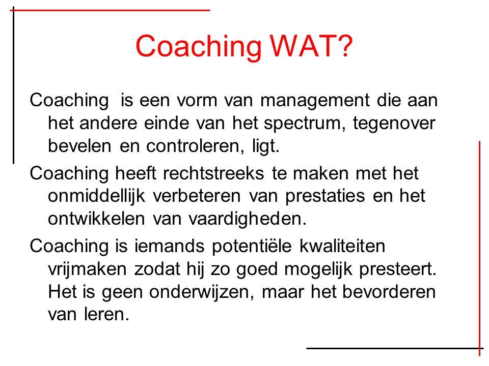 Coaching WAT Coaching is een vorm van management die aan het andere einde van het spectrum, tegenover bevelen en controleren, ligt.