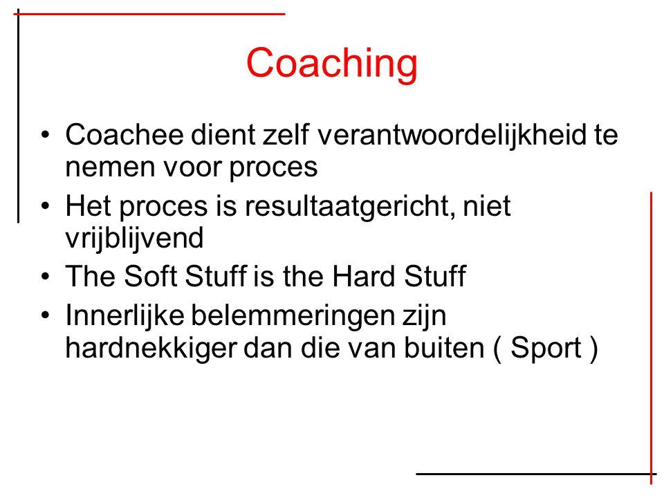 Coaching Coachee dient zelf verantwoordelijkheid te nemen voor proces