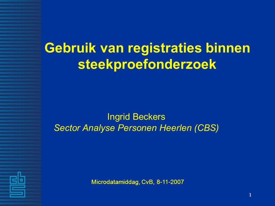 Gebruik van registraties binnen steekproefonderzoek