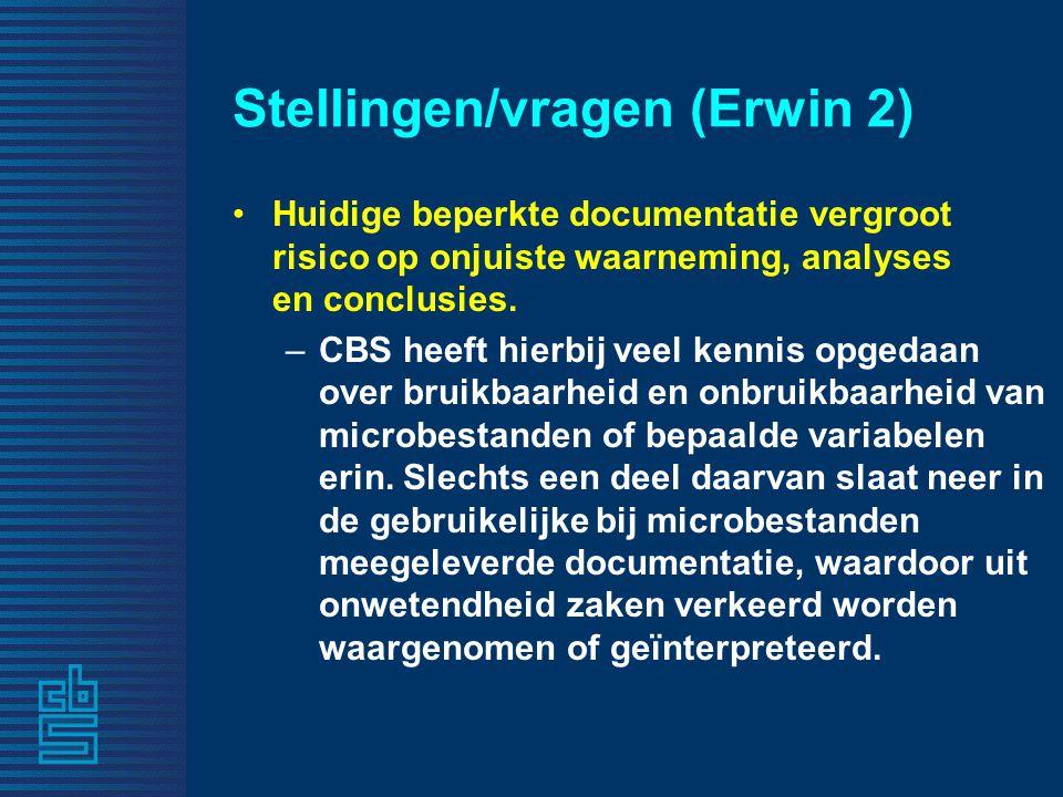 Stellingen/vragen (Erwin 2)
