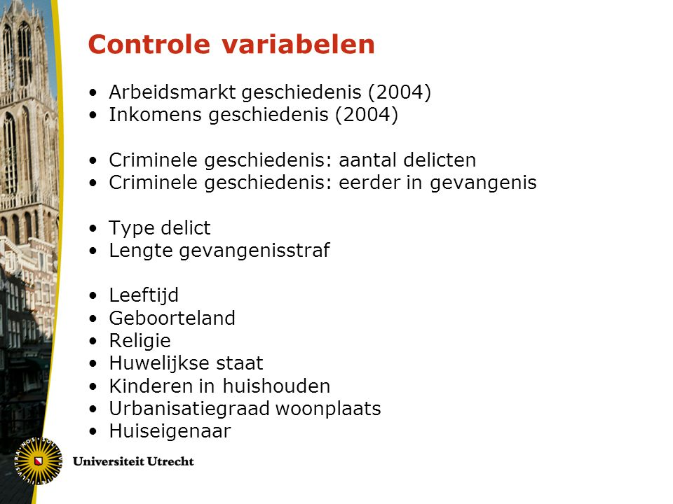 Controle variabelen Arbeidsmarkt geschiedenis (2004)