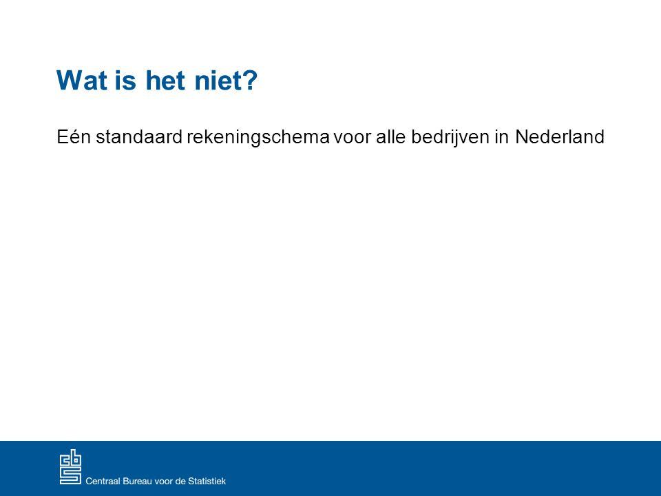 Wat is het niet Eén standaard rekeningschema voor alle bedrijven in Nederland.