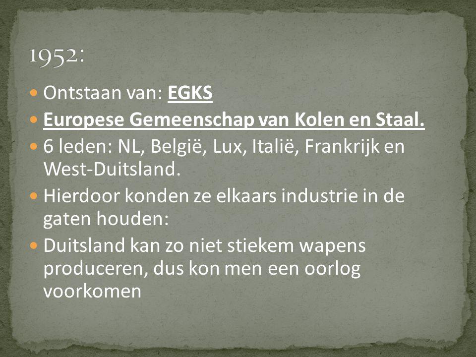 1952: Ontstaan van: EGKS Europese Gemeenschap van Kolen en Staal.