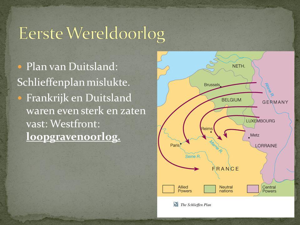 Eerste Wereldoorlog Plan van Duitsland: Schlieffenplan mislukte.