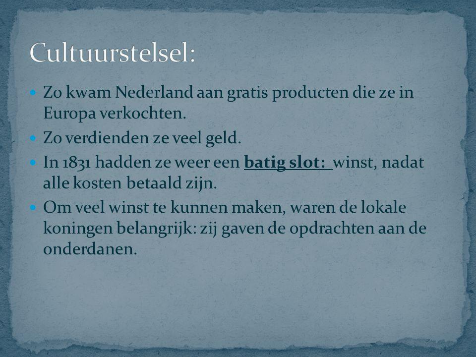 Cultuurstelsel: Zo kwam Nederland aan gratis producten die ze in Europa verkochten. Zo verdienden ze veel geld.