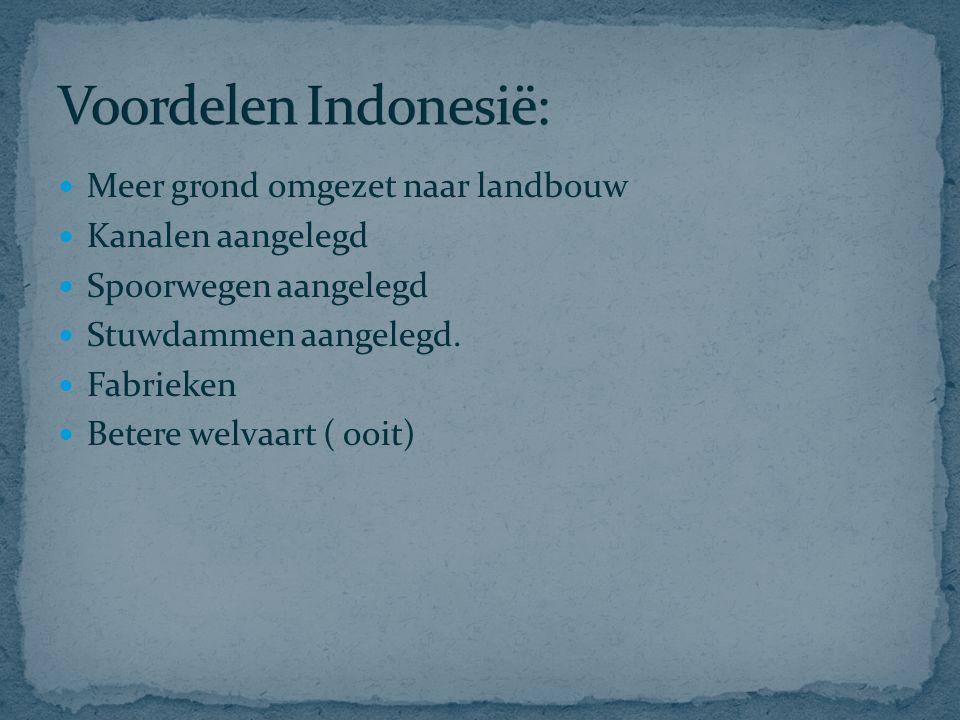 Voordelen Indonesië: Meer grond omgezet naar landbouw